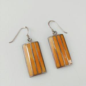 Vtg Peyote Bird inlay sterling artisan earrings